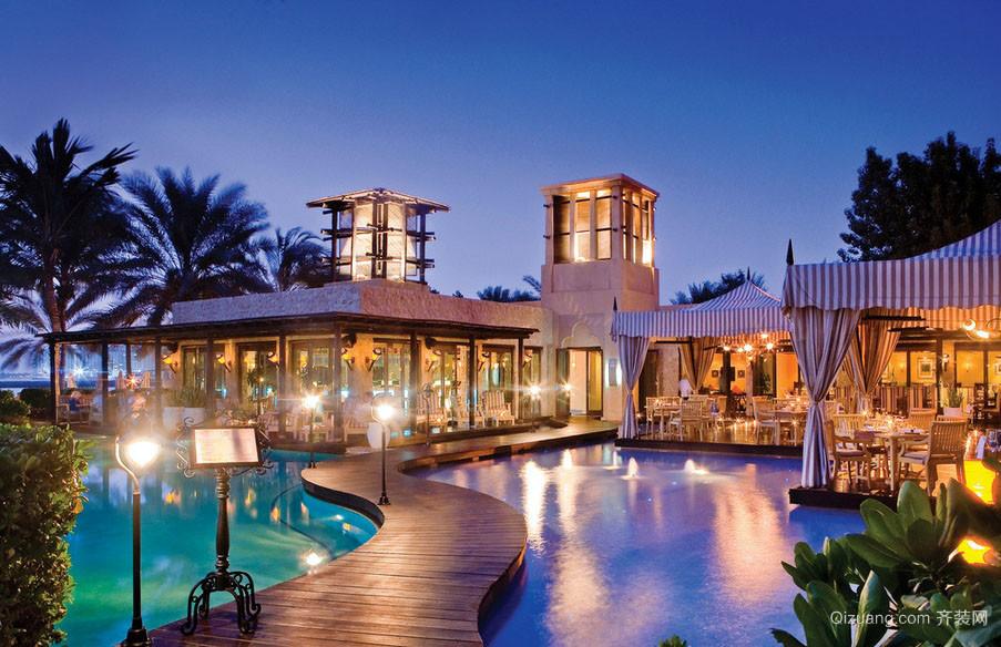 马尔代夫大型商务酒店餐厅装修效果图
