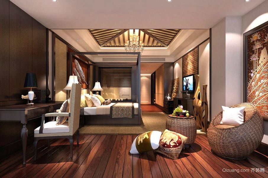 东南亚风格商务酒店大卧室装修效果图