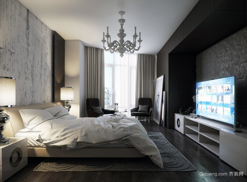别墅型现代主义风格卧室背景墙装修效果图
