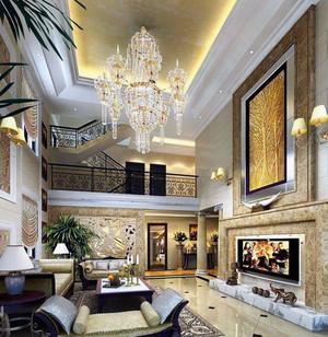 大户型欧式客厅现代水晶吊灯装修效果图
