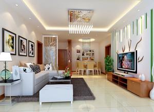 132平米家庭现代客厅隔断装饰装修效果图