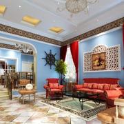 大户型错层地中海风格客厅装修图片