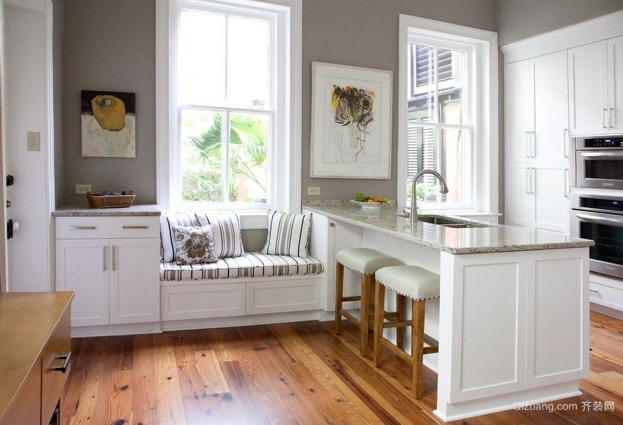 现代风格80平米家居厨房飘窗装修设计图