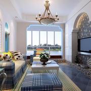 92平米单身小公寓地中海风格客厅装修图片
