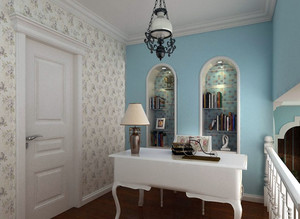 简约地中海风格7平米小书房装修图片