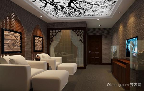 都市唯美的足疗店室内沙发背景墙装修效果图