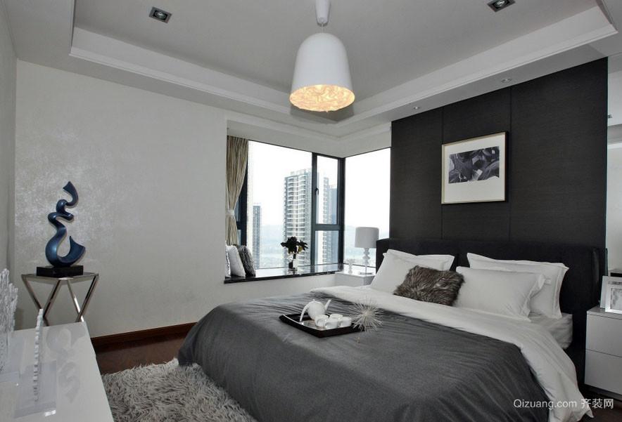 单身公寓现代冷色调卧室飘窗装修设计图