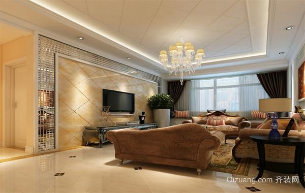 90平米大户型简欧风格客厅电视背景墙装修效果图