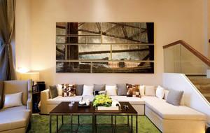 自然错层小客厅抽象画装饰效果图片