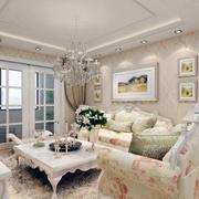 90平米欧式风格大户型客厅吊顶装修效果图