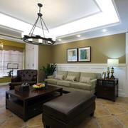 美式客厅整体实景图