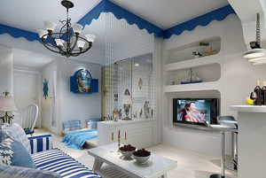 44平米小户型地中海家装隔断珠帘图片