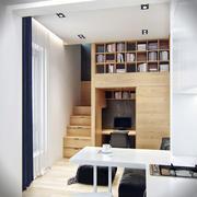公寓原木色整体书柜