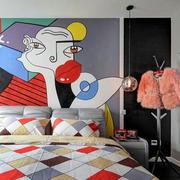 简约两室一厅卧室床头抽象画图片