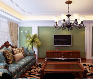 大户型美式装修风格样板房客厅装修效果图鉴赏