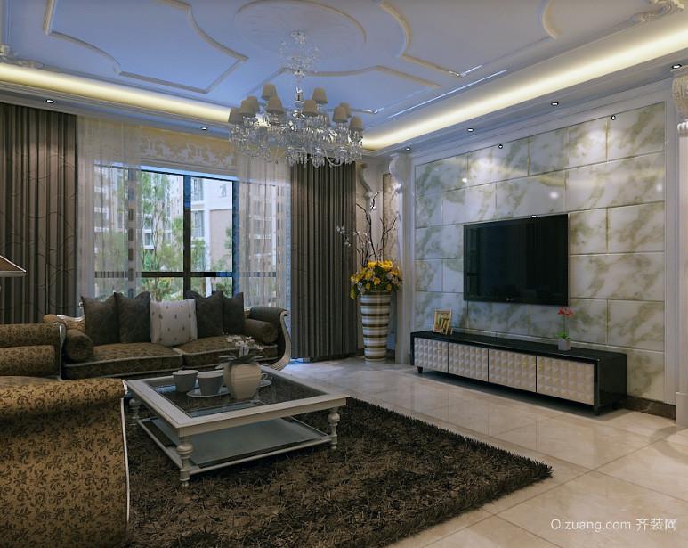 别墅型欧式风格精致的电视墙背景效果图