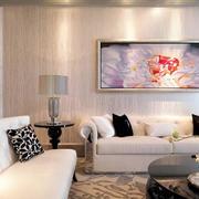 宜家浪漫三居室客厅抽象画装修效果图片