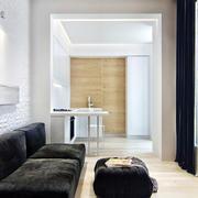 公寓现代客厅黑色沙发