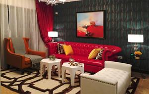 家居客厅红色皮质沙发