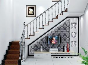 现代跃层客厅电视背景墙楼梯装修效果图