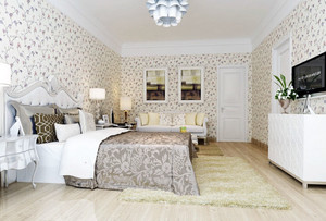 三室一厅简欧大卧室碎花墙纸图片大全