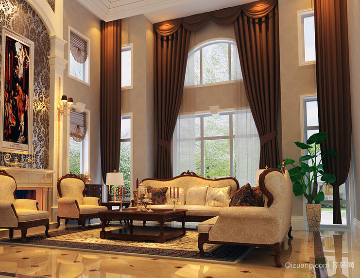 2016大户型唯美的欧式室内窗帘装修效果图