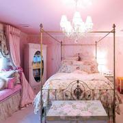 粉色田园风格浪漫小屋卧室布置效果图