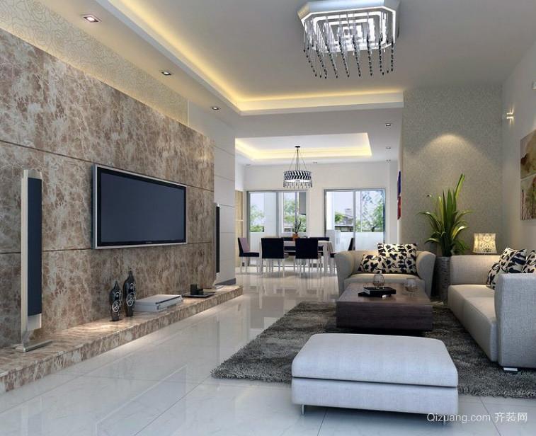 欧式大户型客厅电视墙装修设计效果图鉴赏