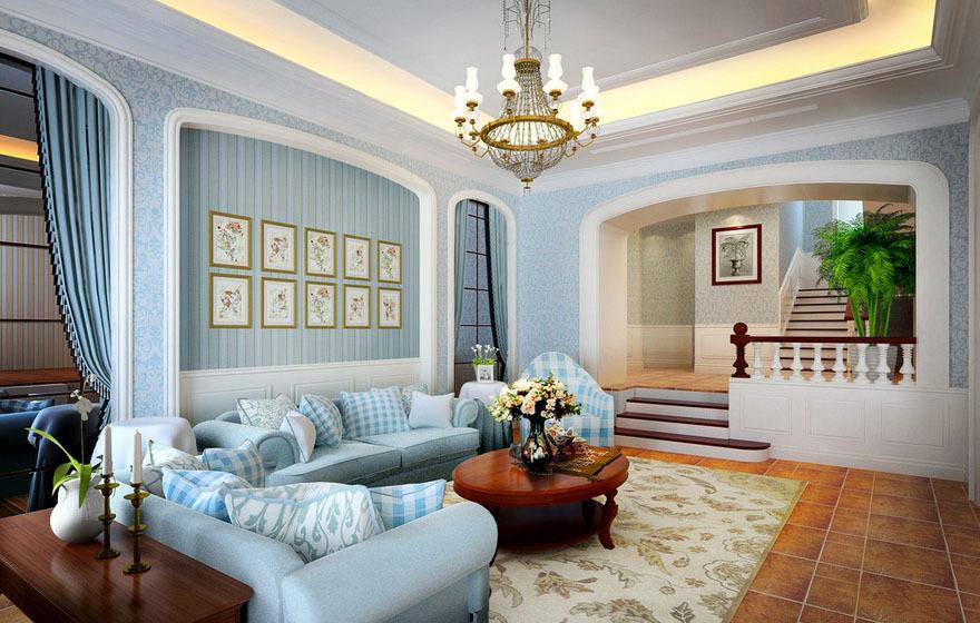 142平米错层混搭客厅碎花墙纸图片大全