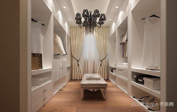 浅色系现代三居室衣帽间设计装修效果图