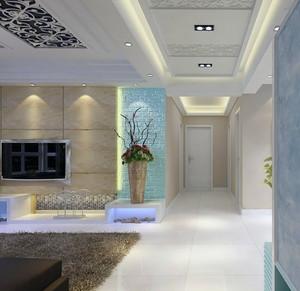都市三居室欧式风格走廊吊顶装修效果图