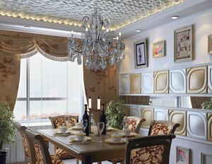 120平米大户型欧式简约餐厅背景墙装修效果图