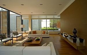 独栋别墅大朴素客厅落地玻璃窗装修图