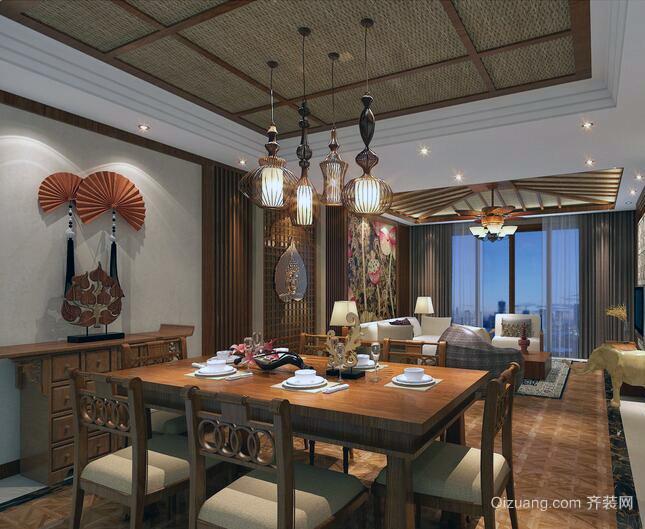 精致的大户型东南亚风格客厅装修效果图案例