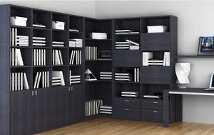 黑色的转角书柜
