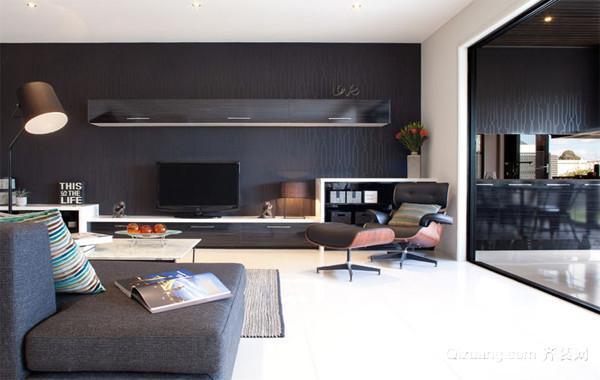 现代欧式大户型客厅液晶电视背景墙装修效果图