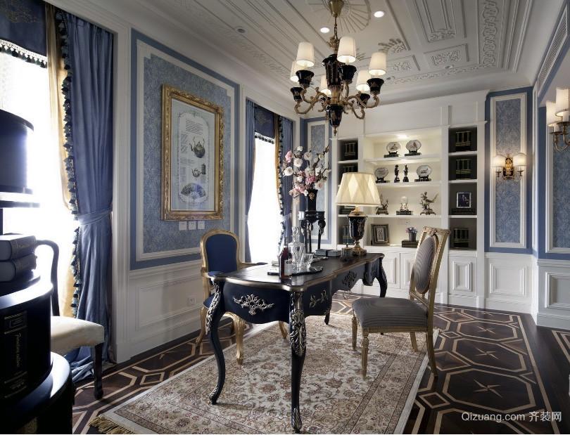 精致的欧式大户型复式楼书房装修效果图实例