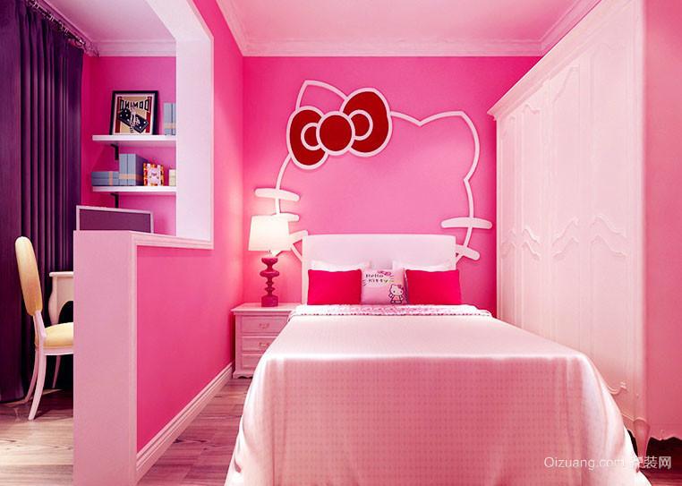 简欧hello Kitty主题浪漫小屋卧室布置图