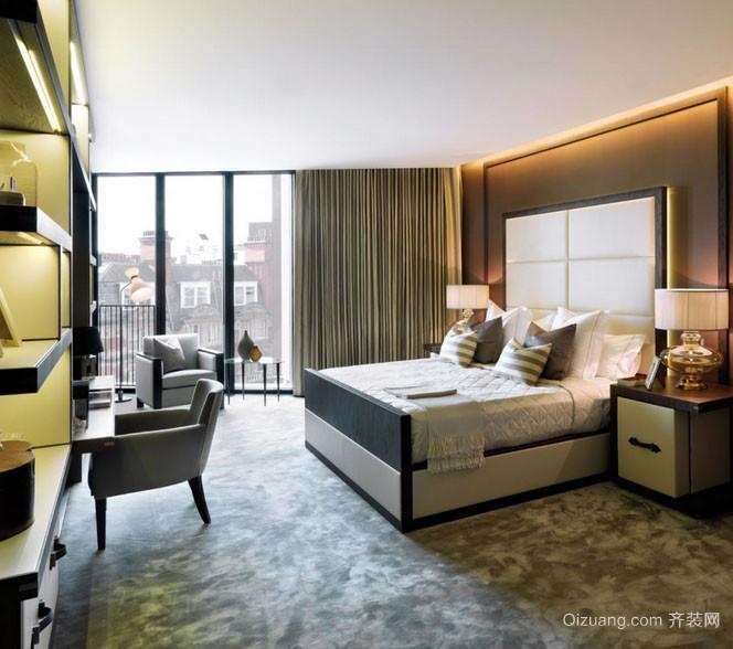 109平米两居室现代主卧室落地玻璃窗图