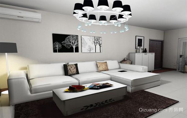 90平米大户型欧式布艺沙发背景墙装修效果图