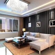 客厅条纹沙发背景墙