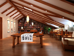 大型别墅中式古典阁楼书房装修样板房