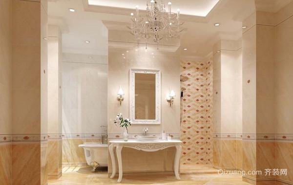 华丽与尊贵:别墅卫生间欧式瓷砖装修图