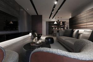 沉稳气质:三房两厅后现代家庭装修设计图