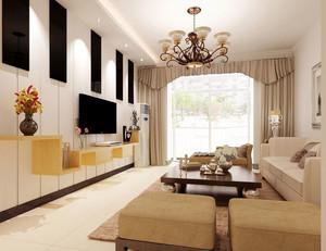 朴素米白色60平米室内客厅装修效果图