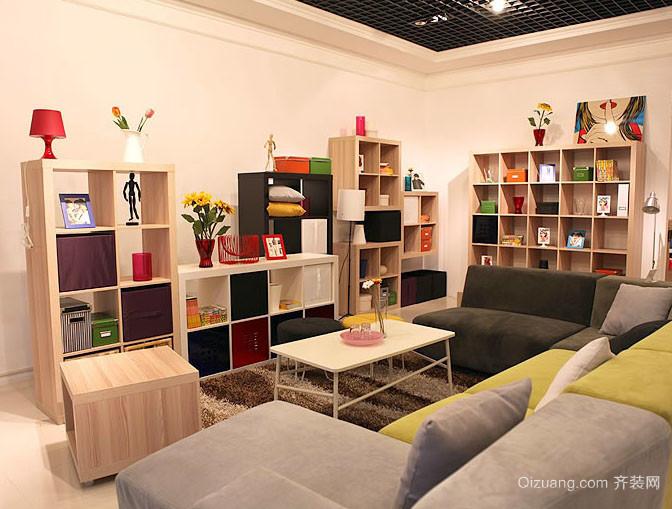 单身公寓59平米现代家庭客厅收纳设计图