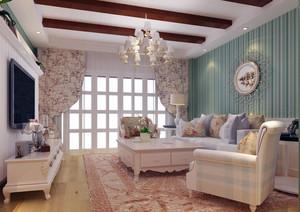 别墅美式风格装修样板房卧室背景墙装修效果图