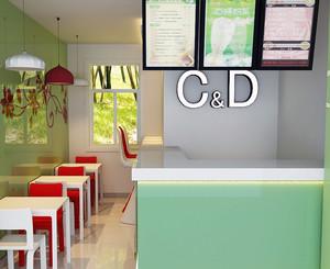 都市唯美的奶茶店室内吊顶设计装修效果图