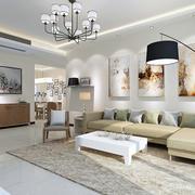 三居室家庭客厅装饰画