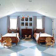 混搭风格阁楼双人儿童房装修样板房